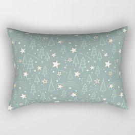 Christmas Nativity - Night Sky and Trees Pattern / Teal Rectangular Pillow