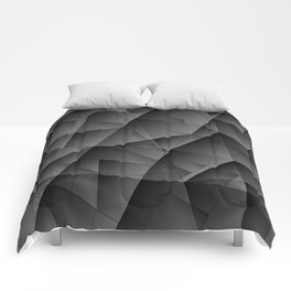 Exclusive tinted mosaic pattern of chaotic black and white fragments of glass, metal and ice floes. Comforters