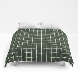 Kombu green - green color - White Lines Grid Pattern Comforters