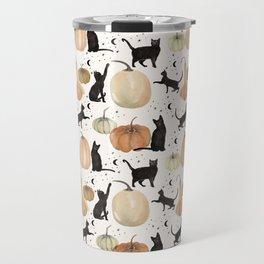 Black Cats Pumpkin Patch Fall Halloween Pattern Travel Mug