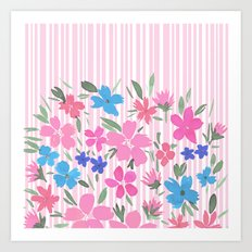 Floral Spring and Stripes Pink Art Print