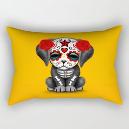 Cute Red Day of the Dead Puppy Dog Rectangular Pillow
