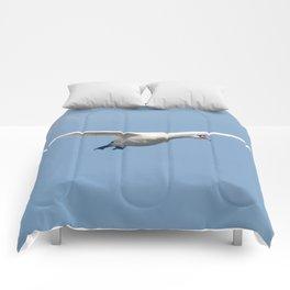 Mute Swan in flight blue sky (Cygnus olor) Comforters
