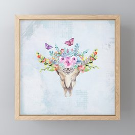 Boho Skull with Florals and Butterflies Framed Mini Art Print