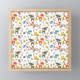 Cute Woodland Creatures Pattern Framed Mini Art Print
