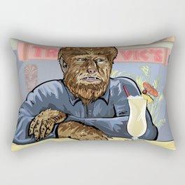 Wolfman drinking a pina colada at Trader Vics. Rectangular Pillow