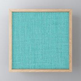 Natural Woven Aqua Blue Burlap Sack Cloth Framed Mini Art Print