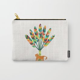 Whimsical travelers palm with tiger Carry-All Pouch