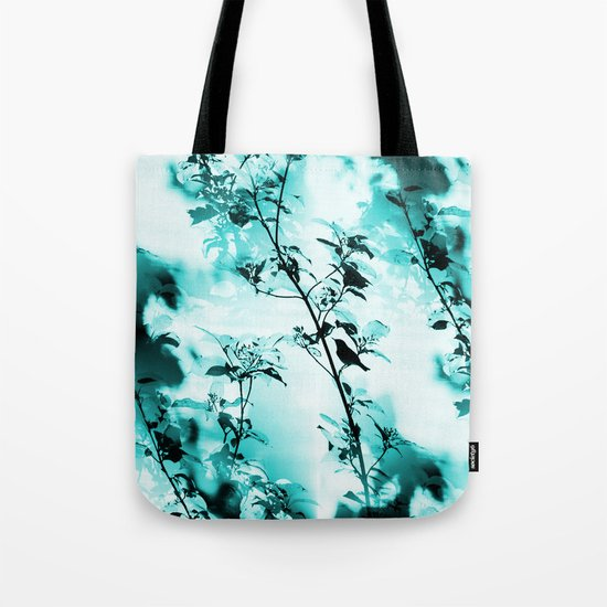 Silhouette of songbird on a branch in turquoise variation  Tote Bag