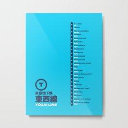 Tozai Line Tokyo Train Station List Map - Cyan Metal Print