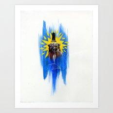 Dapper Red Bear on Blue Art Print