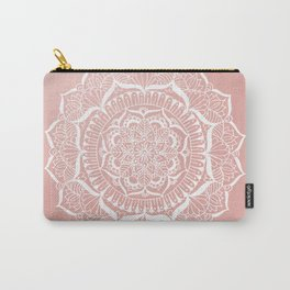 White Flower Mandala on Rose Gold Carry-All Pouch