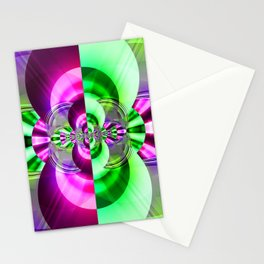 Symmetry green pink Stationery Cards