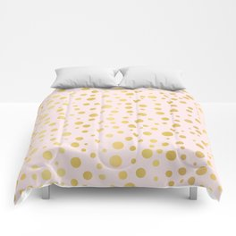 Luxe Rose Gold Polka Dots Pattern Seamless Vector, Drawn Metallic Comforters