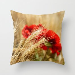 Field of golden wheat with red poppy flowers Throw Pillow