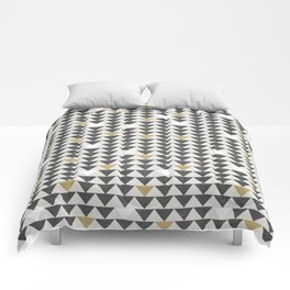 Geometric Triangle Charcoal Gold And White Pattern Comforters