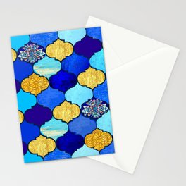 moroccan tiles in blue, aqua and gold Stationery Cards