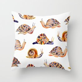 Snail Collection Throw Pillow
