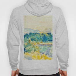 Mediterranean Landscape With a White House Watercolor Landscape Painting Hoody