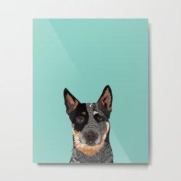 Australian Cattle Dog blue heeler pet portrait art print and dog gifts Metal Print