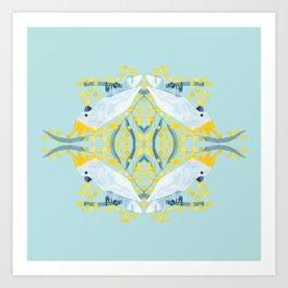 Blue Cockatoos Art Print