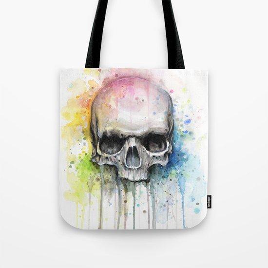 Skull Rainbow Watercolor Painting Skulls Tote Bag