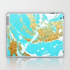 Turquoise gold faux glitter modern marble pattern Laptop & iPad Skin