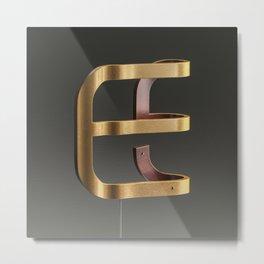 Bendend Lowercase Letter E Metal Print