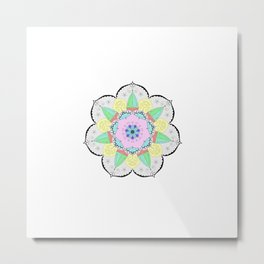 Mandala Art Flower Design Patterns Boho Pastel Metal Print