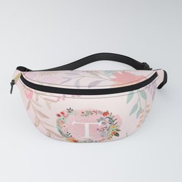Flower Wreath with Personalized Monogram Initial Letter T on Pink Watercolor Paper Texture Artwork Fanny Pack