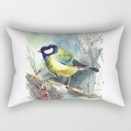 Watercolor aquarelle titmouse bird Rectangular Pillow