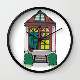 New Orleans Shotgun House - Red Wall Clock