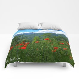 Wild poppies of the Pyrenees mountains Comforters