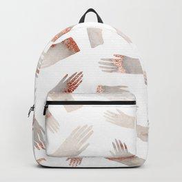 Make Light Work || - Rose Gold Marble Hands Print Backpack