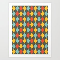 Grey Argyle Art Print