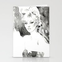 kate moss Stationery Cards featuring Moss by Esther Kang