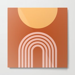 Geometric Lines in Rose Gold Terracotta 2 (Rainbow and Sun Abstract) Metal Print