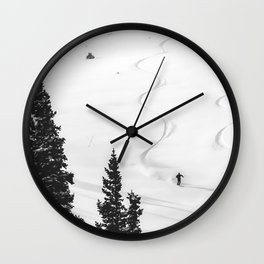 Backcountry Skier // Fresh Powder Snow Mountain Ski Landscape Black and White Photography Vibes Wall Clock