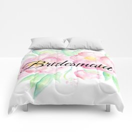 Pink Floral Watercolor Bridesmaid Gift Comforters