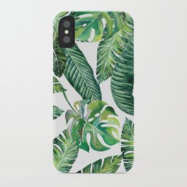 Jungle Leaves, Banana, Monstera #society6 iPhone Case