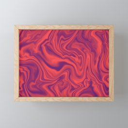 Neon Living Coral - color of year 2019, Ultra Violet Marble Abstract Gradient Pattern Framed Mini Art Print