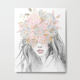 She Wore Flowers in Her Hair Rose Gold by Nature Magick Metal Print