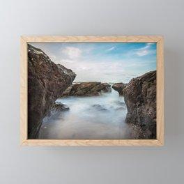 Scenic Coastal Rocks and Sea Spray Photograph Framed Mini Art Print