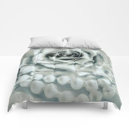 Rose Flower & Pearls Modern Cottage Decor Modern Country Art A483 Comforters