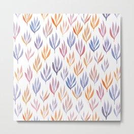 Watercolour Ferns | Sunset Colours Metal Print
