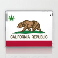 California Republic state flag with green Cannabis leaf Laptop & iPad Skin