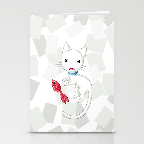 Cat and Fish Stationery Cards