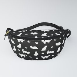 White Cats and Paw Prints Pattern on Black Fanny Pack