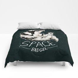 Space Badger by Devon Baker Comforters