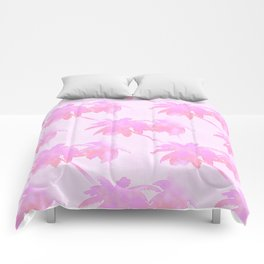 Pink Palm Trees Coastal Pattern Comforters